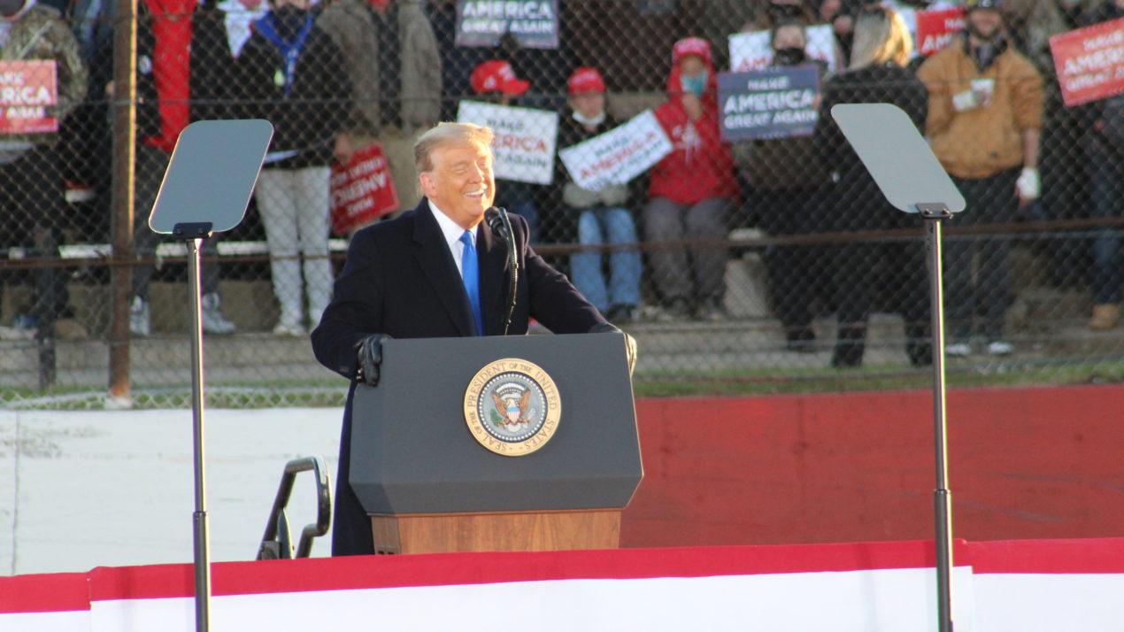 President Donald Trump praises USMCA during his rally in West Salem